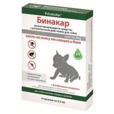 Капли Бинакар от клещей/блох для мелких собак и щенков