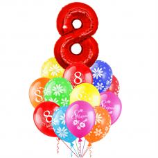 Букет большой из воздушных  шаров с гелием 8 марта
