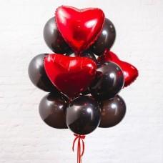 Букет строгий из шаров с гелием сердца с черными шарами