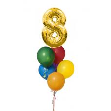 Букет из воздушных  шаров с гелием 8 марта
