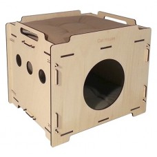 Cat House домик для грызуна фанерный Лофт 37*44*38 см. съемный 2-х сторонний матрац