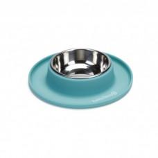 Beeztees Миска металлическая на силиконовой подставке, бирюзовая для кошек 19х3,5см (арт. ВЕТ650647)