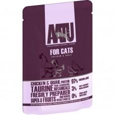 AATU беззерновые паучи для кошек с курица и перепелом, 97/3 FOR CATS CHICKEN & QUAIL, 85 г