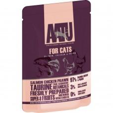 AATU беззерновые паучи для кошек с лососем, курицей и креветками, SALMON, CHICKEN & PRAWN, 85 г