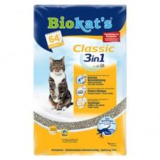Biokat's Classic 3 в 1 - наполнитель комкующийся для кошек, без запаха, 3 вида гранул
